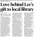 """Love behind Lee's gift to local library"""