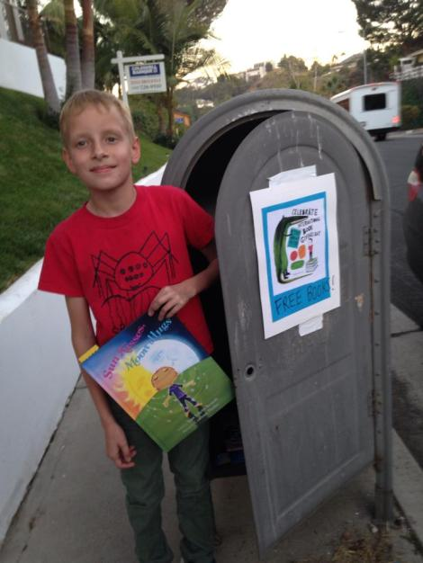 We turned an abandoned mail drop box into a free books box and filled it with Sun Kisses, Moon Hugs and other favorite books - in honor of International Book Giving Day ~ Susan Schaefer Bernardo, Los Angeles