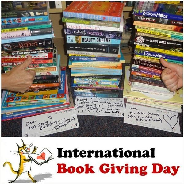 Donation from Allen & Unwin to 100 Story Building in Melbourne, Australia on International Book Giving Day 2014.