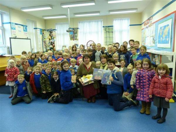In honour of International Book Giving Day, Solva Woollen Mill and Jackie Morris in a West Wales, UK donated 14 books to the local school in Solva.