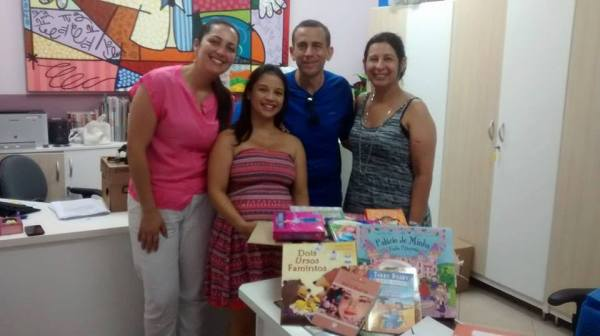 BRAZIL:  My husband and me asked friends to donate books on my baby shower; we received around 350 books