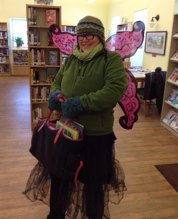 CANADA: Angela Reynolds, in Nova Scotia, braved the elements to gift books.