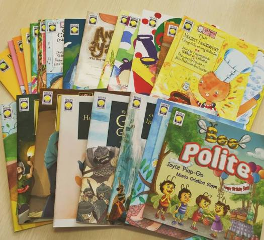 PHILIPPINES: Here are some of the Hiyas books that we'll be leaving around Metro Manila for kids to find in time for International Book Giving Day on February 14. We'll be posting pictures and clues all throughout the day so that if you're in the area, you will be the new owners of the books!